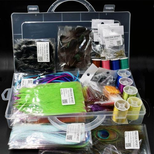 Phecda Sport Feathers Fur Thread Crystal Flash Line Hooks Fly Tying Materials Starter Kits