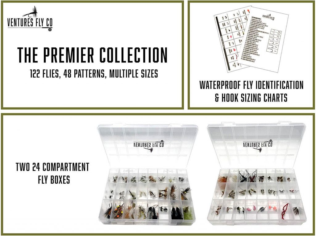 Ventures Fly Co. _ 122 Premium Hand Tied Fly Fishing Flies Assortment _ Two Fly Boxes Included _ Dry, Wet, Nymphs, Streamers, Wooly Buggers, Terrestrials