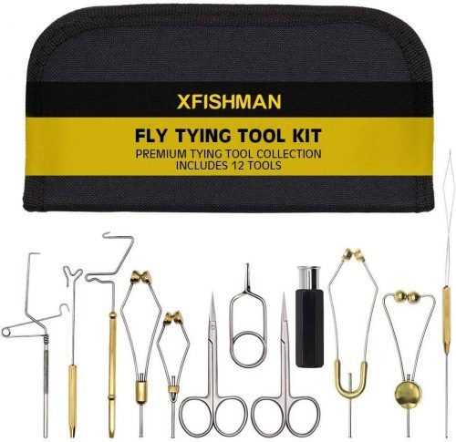 XFISHMAN Fly Tying Tool Kit 7-8-12 in 1 with Bobbin Finisher Scissors Vise Hackle Hair Stacker Fly Fishing Tying Tools Set