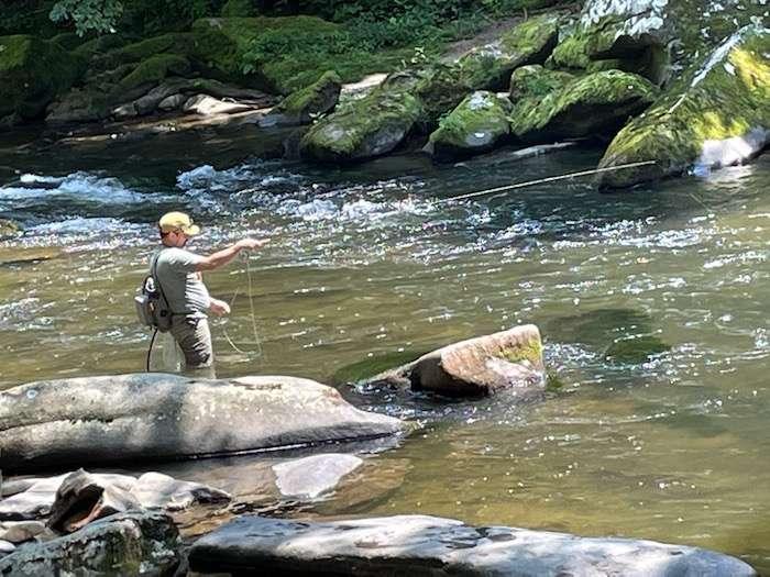 Wet-wading-Oconaluftee-river